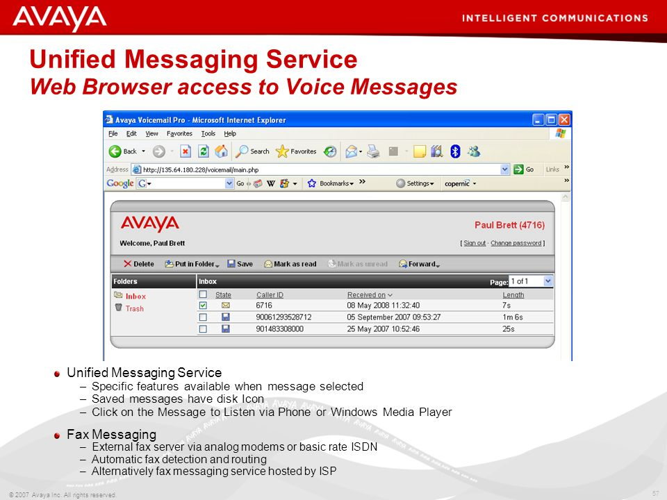 56 © 2007 Avaya Inc. All rights reserved. Unified Messaging Service –Synchronization with IMAP4 clients (e.g. Outlook, Outlook Express) –New messages