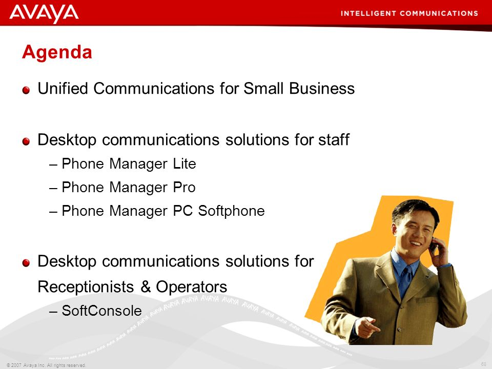 67 © 2007 Avaya Inc. All rights reserved. IP Office Productivity Applications Work From Anywhere Connect Faster Improve Customer Service Control Costs