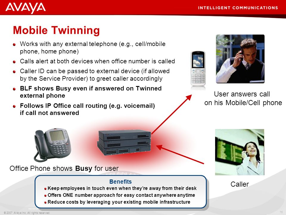 75 © 2007 Avaya Inc. All rights reserved. Mobile Twinning Works with any external telephone (e.g. cell/mobile phone, home phone, etc) Calls alert at b