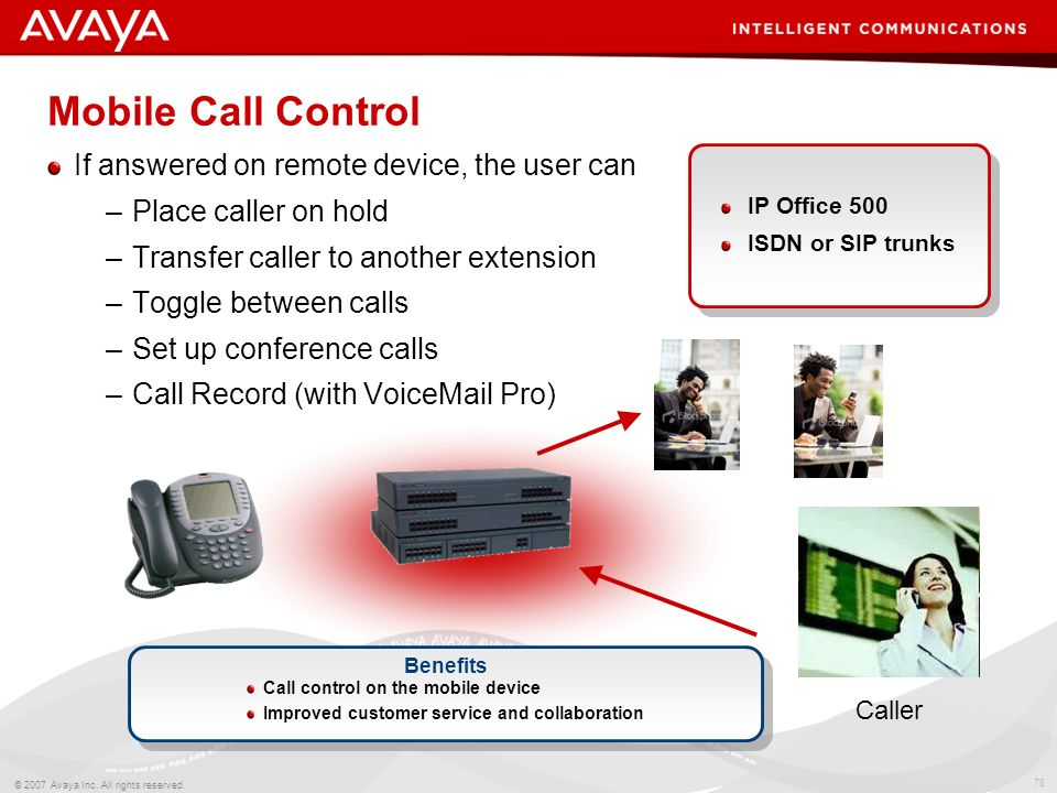 77 © 2007 Avaya Inc. All rights reserved. Mobile Twinning Works with any external telephone (e.g. cell/mobile phone, home phone, etc) Calls alert at b