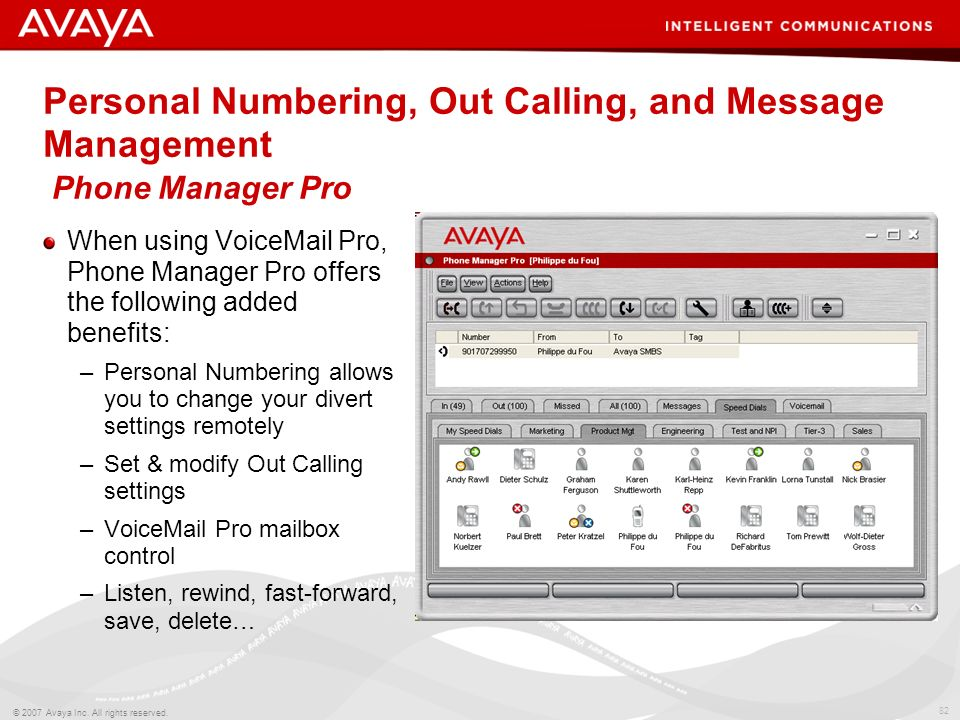 81 © 2007 Avaya Inc. All rights reserved. Information at your Fingertips Phone Manager Pro Multiple speed-dial/BLF icons Screen-pop of contact managem