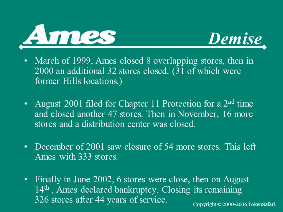 March of 1999, Ames closed 8 overlapping stores, then in 2000 an additional 32 stores closed.