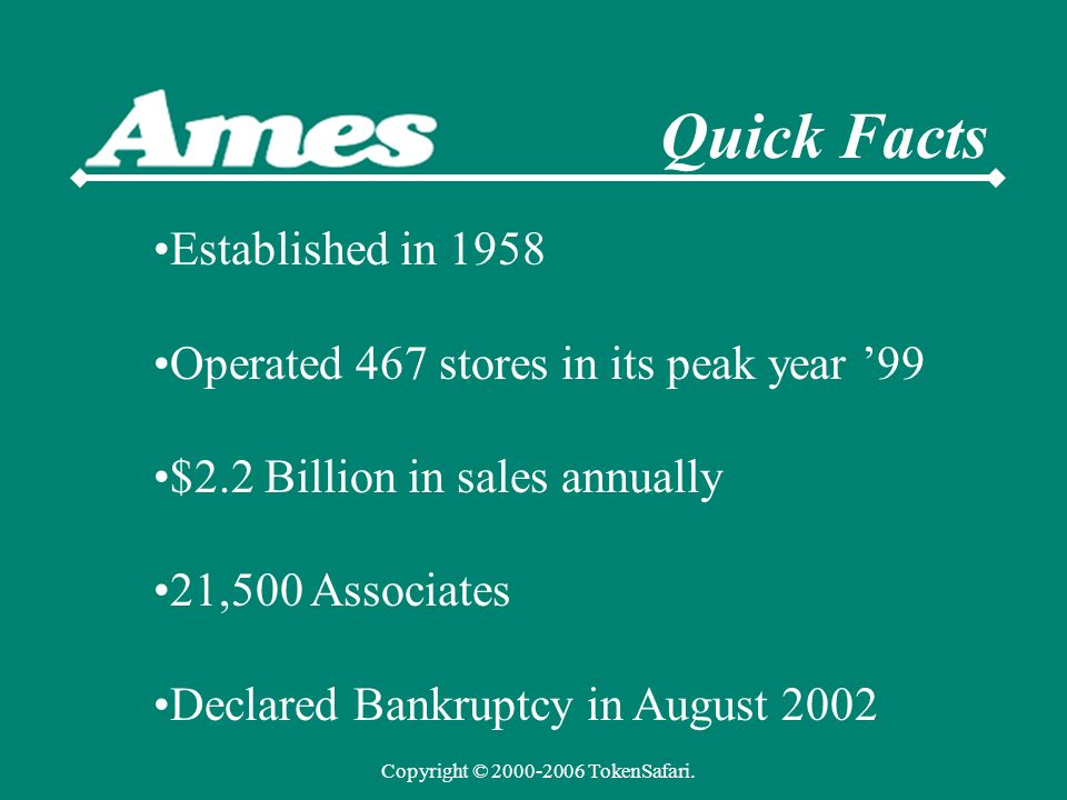 Quick Facts Established in 1958 Operated 467 stores in its peak year 99 $2.2 Billion in sales annually 21,500 Associates Declared Bankruptcy in August 2002 Copyright © 2000-2006 TokenSafari.