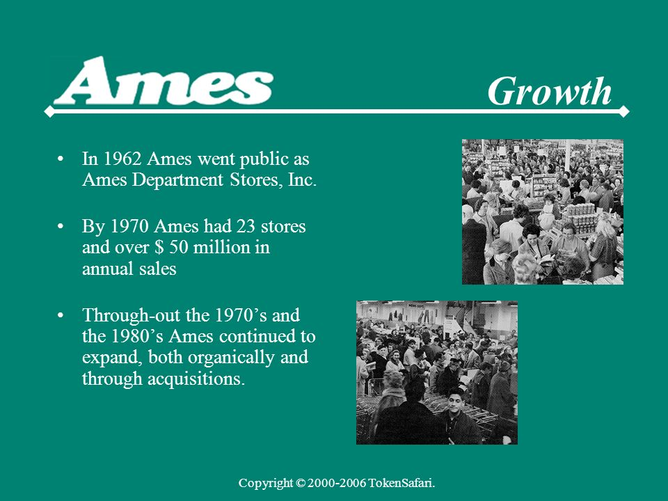 In 1962 Ames went public as Ames Department Stores, Inc.