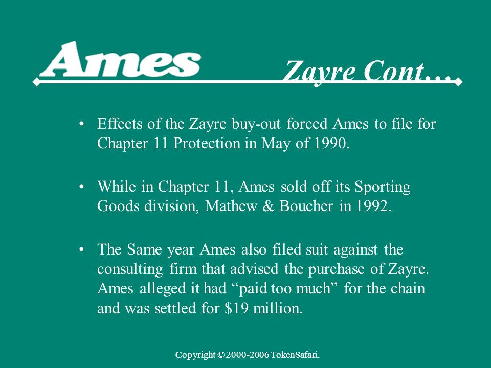 Zayre Cont… Effects of the Zayre buy-out forced Ames to file for Chapter 11 Protection in May of 1990.