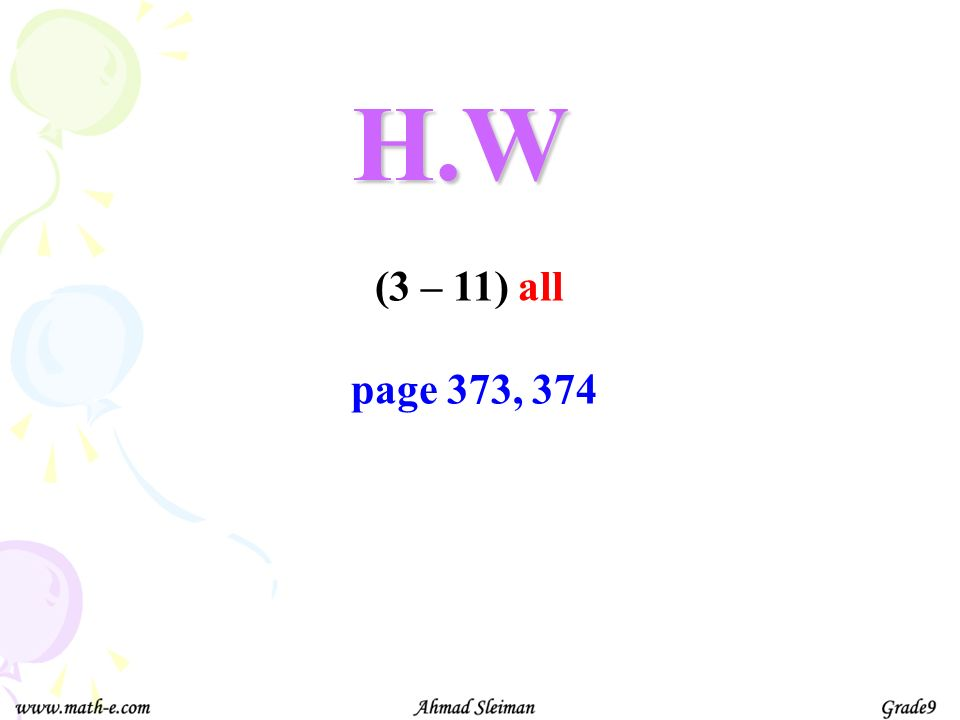 H.W (3 – 11) all page 373, 374