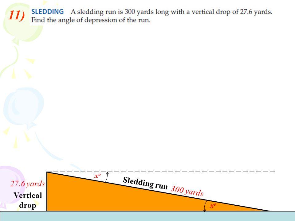 11) Sledding run 300 yards Vertical drop 27.6 yards xoxo xoxo
