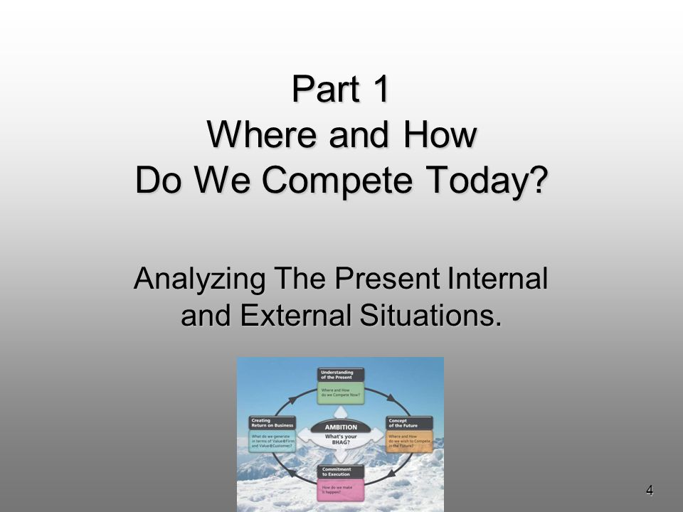 4 Part 1 Where and How Do We Compete Today Analyzing The Present Internal and External Situations.