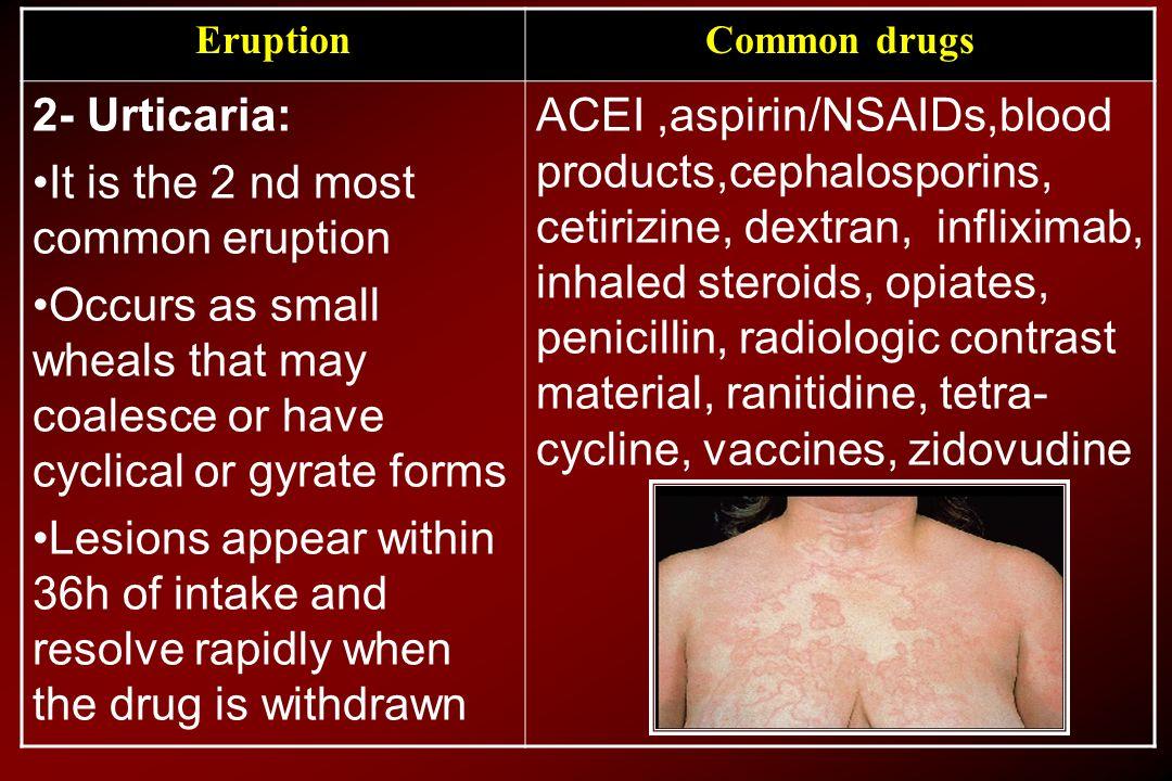 Common drugsEruption ACEI,aspirin/NSAIDs,blood products,cephalosporins, cetirizine, dextran, infliximab, inhaled steroids, opiates, penicillin, radiol