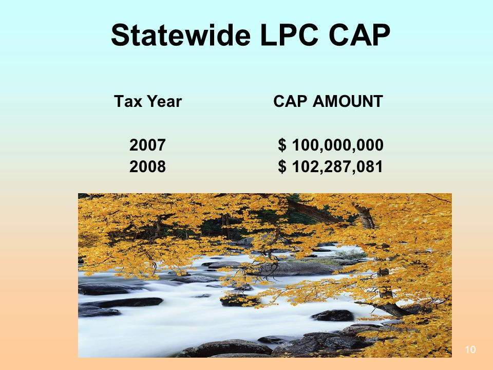 10 Statewide LPC CAP Tax Year CAP AMOUNT 2007 $ 100,000,000 2008 $ 102,287,081