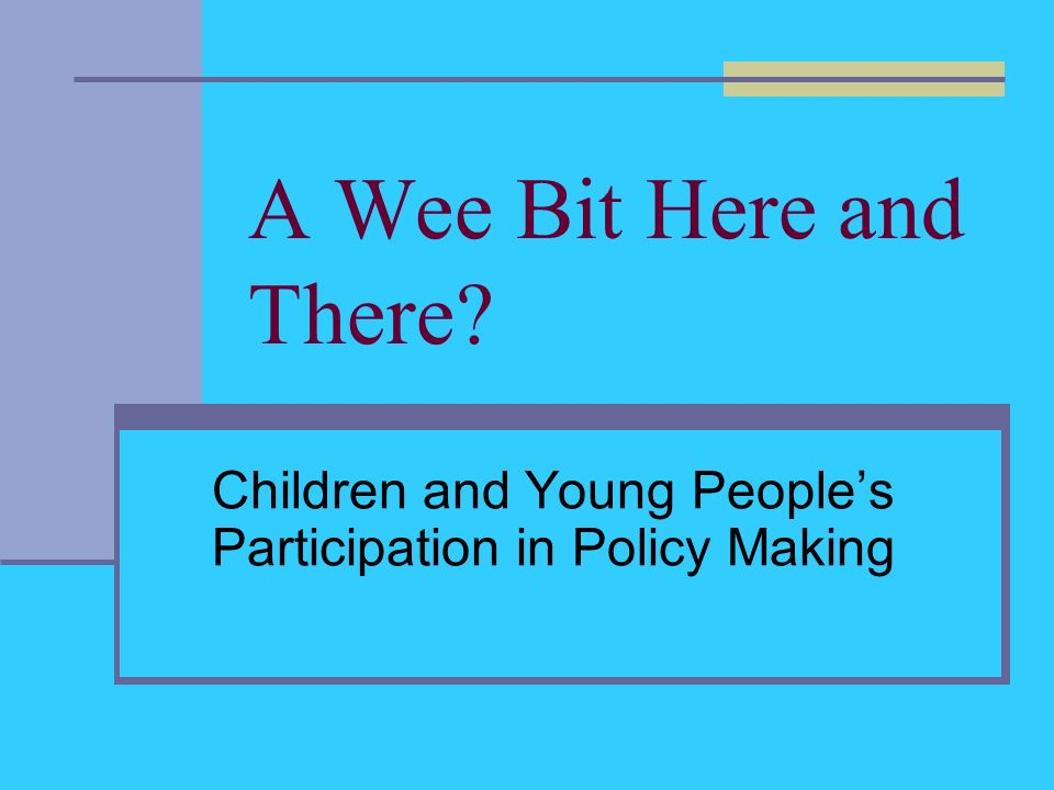 A Wee Bit Here and There Children and Young Peoples Participation in Policy Making
