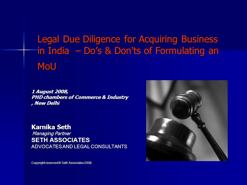 How legal due diligence may help.
