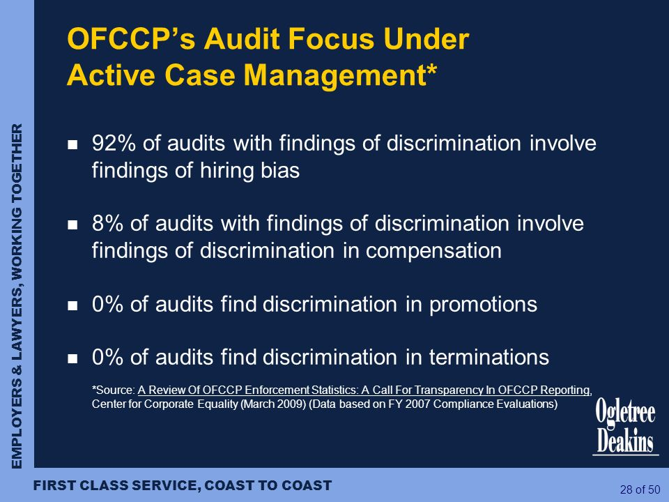 EMPLOYERS & LAWYERS, WORKING TOGETHER FIRST CLASS SERVICE, COAST TO COAST 28 of 50 OFCCPs Audit Focus Under Active Case Management* 92% of audits with