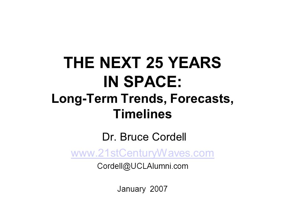 Abstract 21 st Century Waves: Technology Booms and Human Expansion into the Cosmos Futures Research Quarterly, Fall, 2006 Long-term trends in economics, technology, and society point to the decade from 2015 – 2025 as the analog of the 1960s.