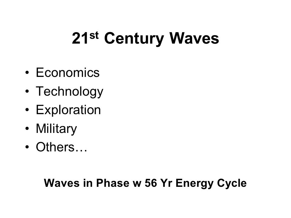 21 st Century Waves Economics Technology Exploration Military Others… Waves in Phase w 56 Yr Energy Cycle
