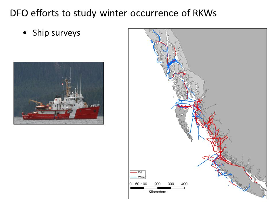 DFO efforts to study winter occurrence of RKWs Ship surveys