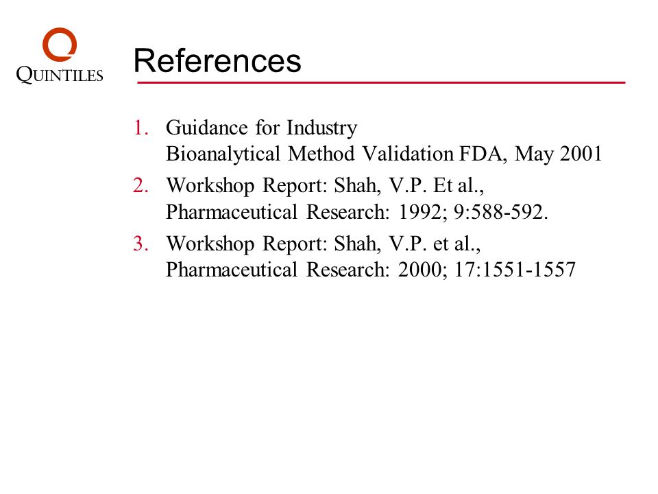 References 1.Guidance for Industry Bioanalytical Method Validation FDA, May 2001 2.Workshop Report: Shah, V.P. Et al., Pharmaceutical Research: 1992;