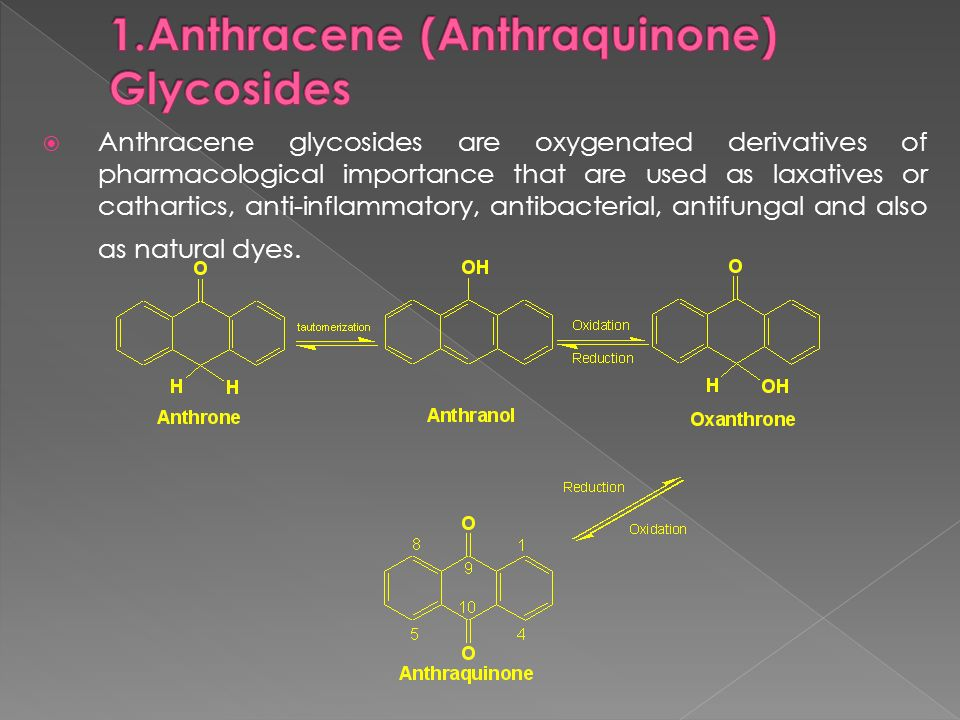 Anthracene glycosides are oxygenated derivatives of pharmacological importance that are used as laxatives or cathartics, anti-inflammatory, antibacter