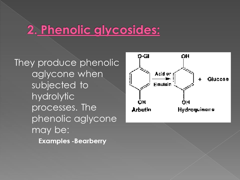They produce phenolic aglycone when subjected to hydrolytic processes. The phenolic aglycone may be: Examples -Bearberry