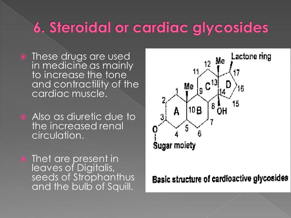 These drugs are used in medicine as mainly to increase the tone and contractility of the cardiac muscle. Also as diuretic due to the increased renal c