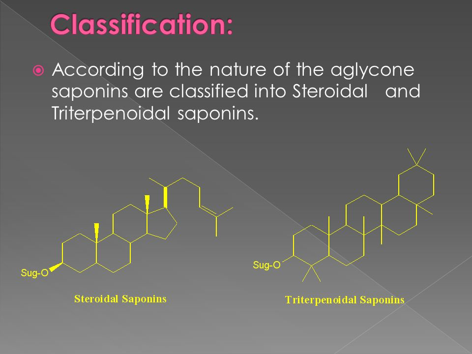 According to the nature of the aglycone saponins are classified into Steroidal and Triterpenoidal saponins.