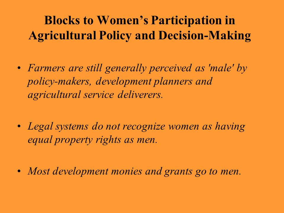 Blocks to Womens Participation in Agricultural Policy and Decision-Making Farmers are still generally perceived as 'male' by policy-makers, developmen