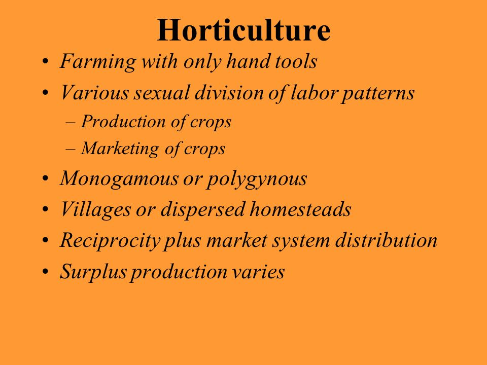 Horticulture Farming with only hand tools Various sexual division of labor patterns –Production of crops –Marketing of crops Monogamous or polygynous