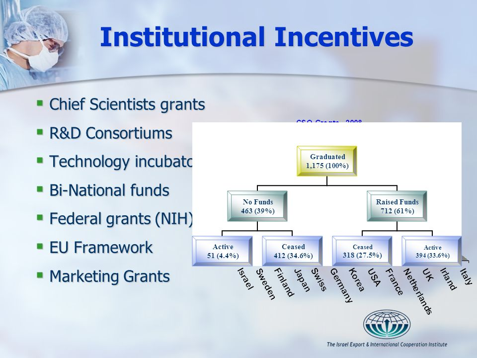 Institutional Incentives Chief Scientists grants Chief Scientists grants R&D Consortiums R&D Consortiums Technology incubators Technology incubators B