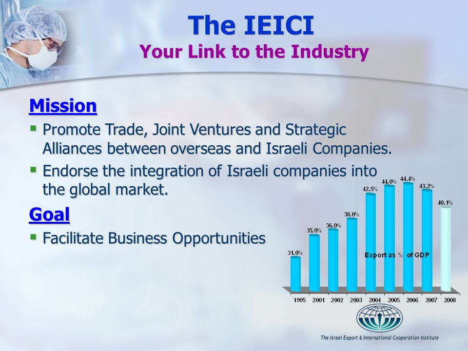 Mission Promote Trade, Joint Ventures and Strategic Alliances between overseas and Israeli Companies. Promote Trade, Joint Ventures and Strategic Alli