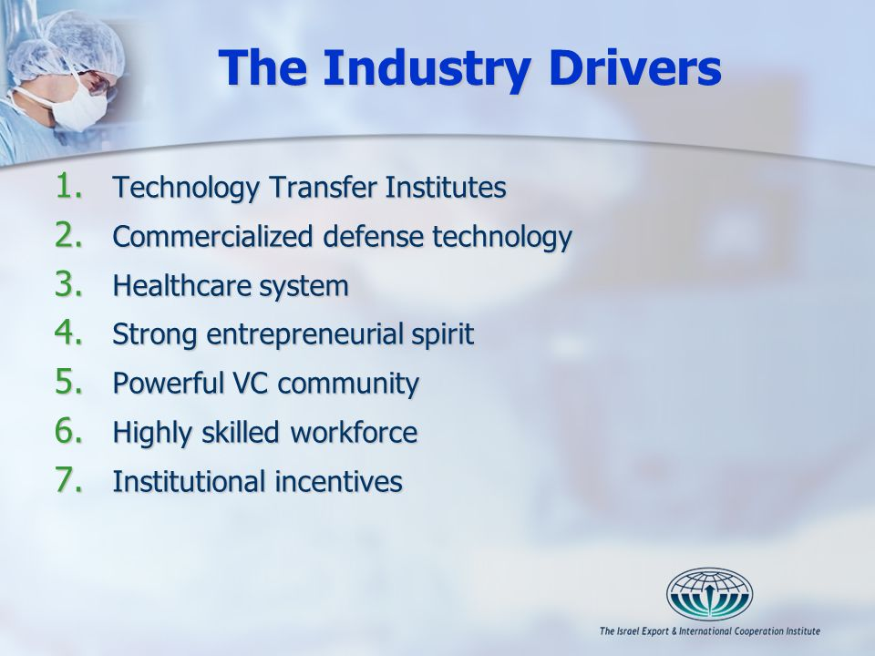 The Industry Drivers 1. Technology Transfer Institutes 2. Commercialized defense technology 3. Healthcare system 4. Strong entrepreneurial spirit 5. P