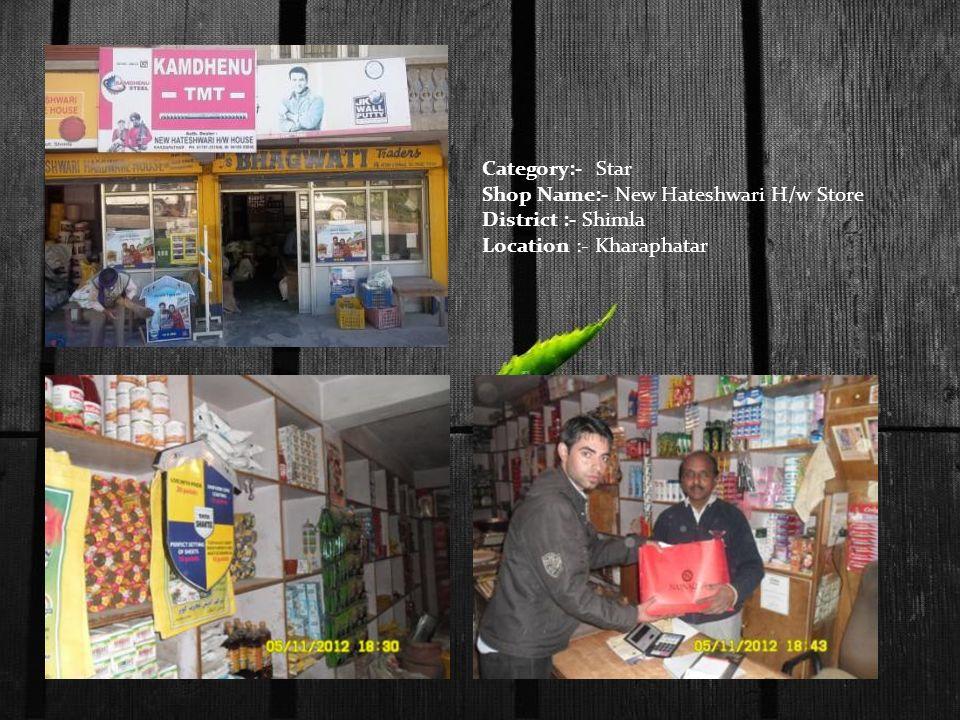 Category:- Star Shop Name:- New Hateshwari H/w Store District :- Shimla Location :- Kharaphatar