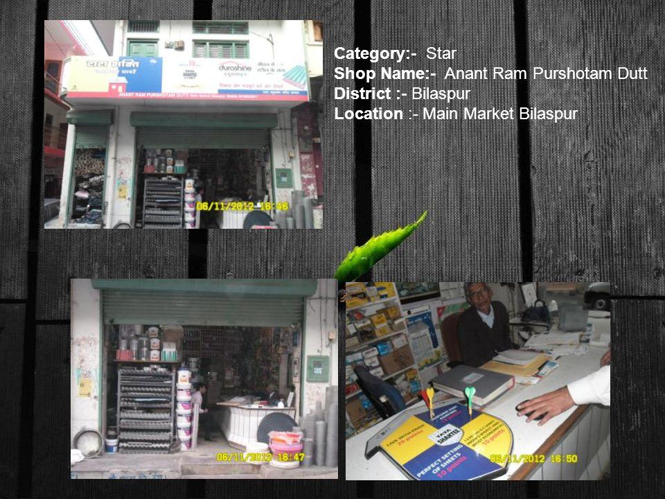 Category:- Star Shop Name:- Anant Ram Purshotam Dutt District :- Bilaspur Location :- Main Market Bilaspur
