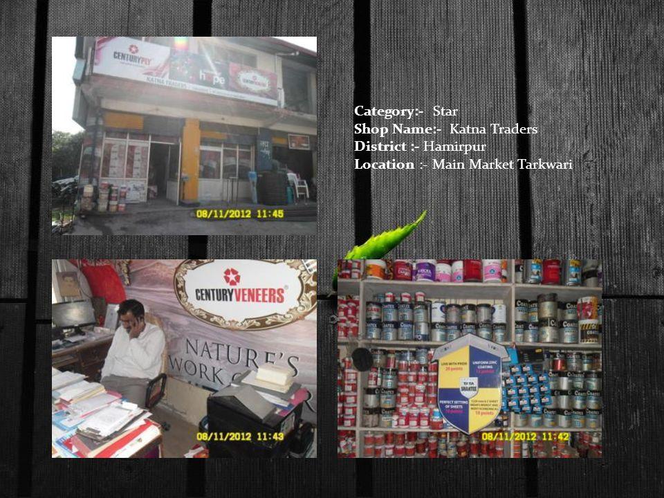 Category:- Star Shop Name:- Katna Traders District :- Hamirpur Location :- Main Market Tarkwari
