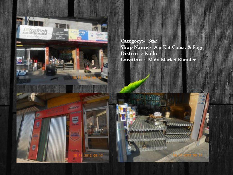 Category:- Star Shop Name:- Aar Kat Const. & Engg. District :- Kullu Location :- Main Market Bhunter