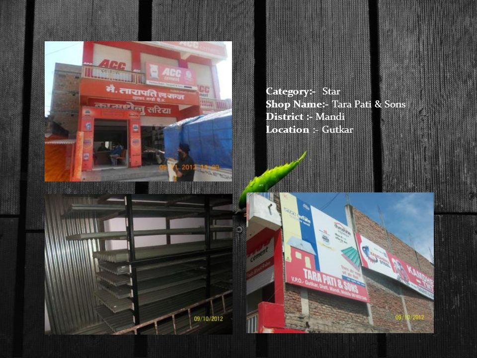 Category:- Star Shop Name:- Tara Pati & Sons District :- Mandi Location :- Gutkar
