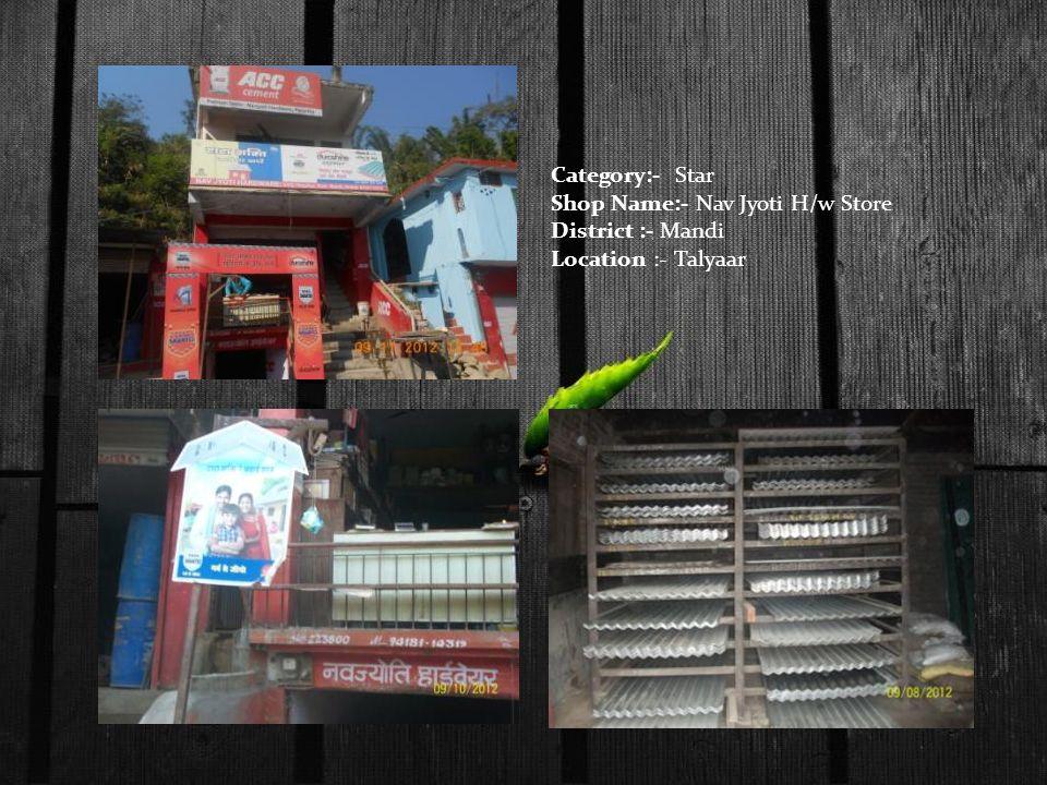 Category:- Star Shop Name:- Nav Jyoti H/w Store District :- Mandi Location :- Talyaar