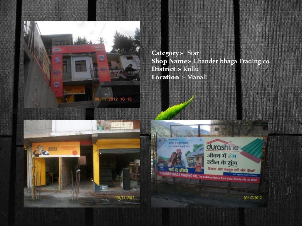 Category:- Star Shop Name:- Chander bhaga Trading co. District :- Kullu Location :- Manali