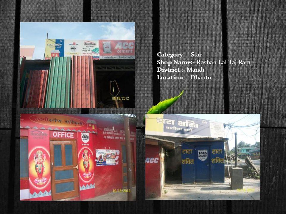 Category:- Star Shop Name:- Roshan Lal Taj Ram District :- Mandi Location :- Dhantu