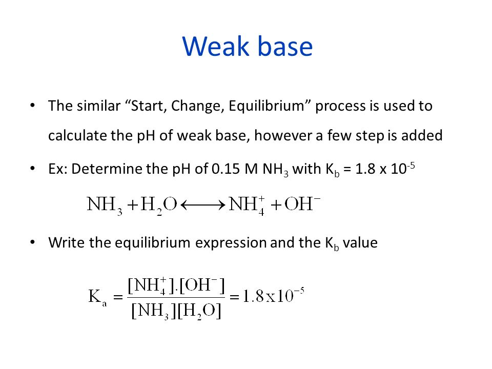 Weak base Start, Change, Equilibrium process Substitute de variable and solve for [OH - ] NH 3 (aq) +H2OH2O NH 4 + +OH - Start0.15 M- 0 M Change- x- + x Equilibrium0.15 - x- xx