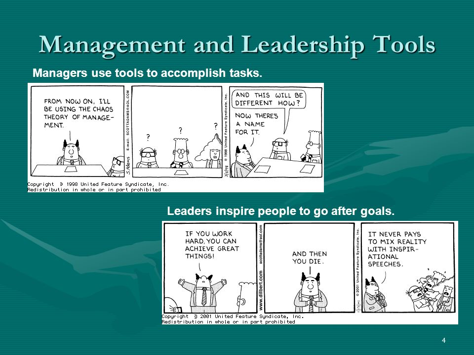 4 Management and Leadership Tools Managers use tools to accomplish tasks. Leaders inspire people to go after goals.