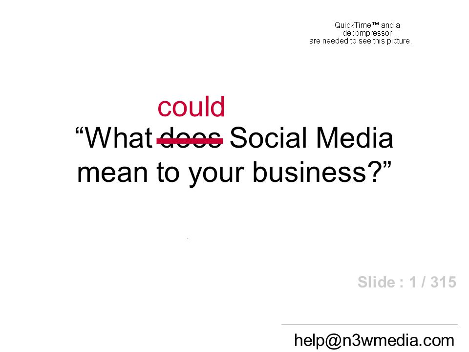help@n3wmedia.com What does Social Media mean to your business? could Slide : 1 / 315