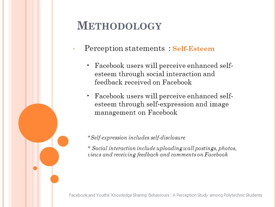M ETHODOLOGY Perception statements : Self-Esteem Facebook users will perceive enhanced self- esteem through social interaction and feedback received on Facebook Facebook users will perceive enhanced self- esteem through self-expression and image management on Facebook *Self-expression includes self-disclosure * Social interaction include uploading wall postings, photos, views and receiving feedback and comments on Facebook Facebook and Youths Knowledge Sharing Behaviours : A Perception Study among Polytechnic Students