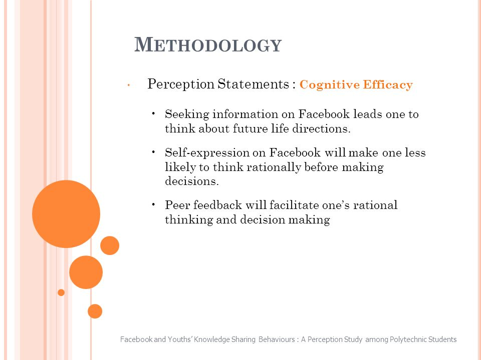 M ETHODOLOGY Perception Statements : Cognitive Efficacy Seeking information on Facebook leads one to think about future life directions.
