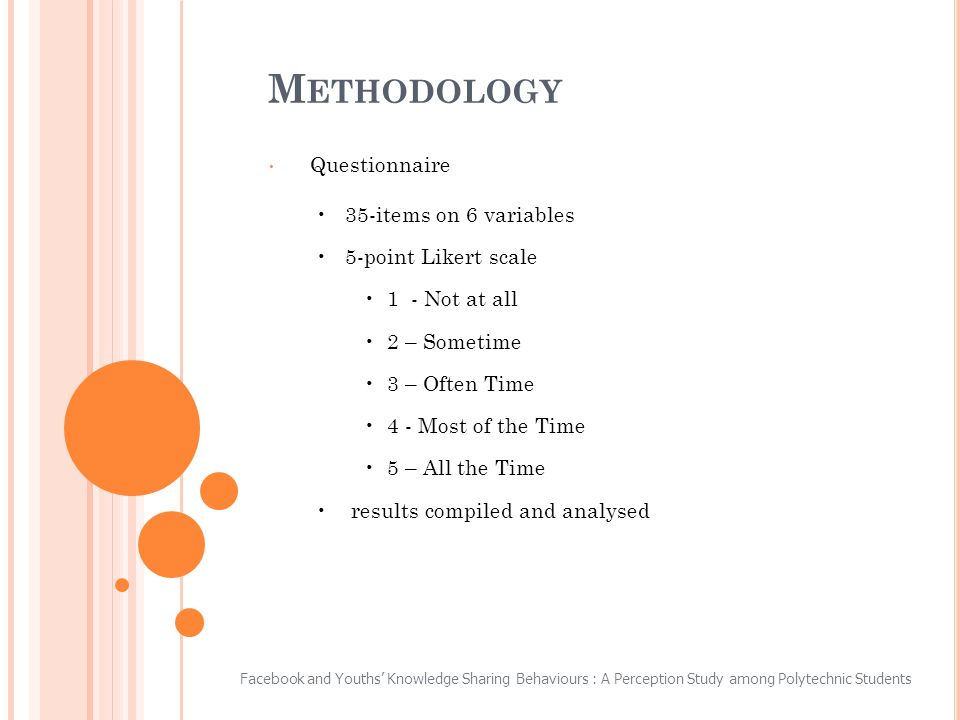 M ETHODOLOGY Questionnaire 35-items on 6 variables 5-point Likert scale 1 - Not at all 2 – Sometime 3 – Often Time 4 - Most of the Time 5 – All the Time results compiled and analysed Facebook and Youths Knowledge Sharing Behaviours : A Perception Study among Polytechnic Students
