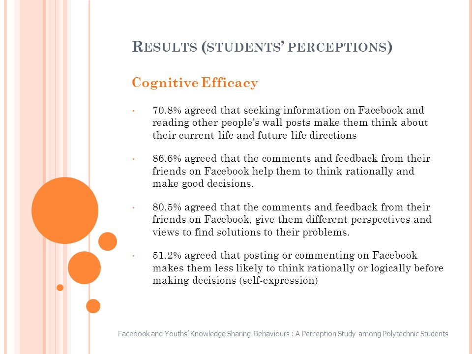 Cognitive Efficacy 70.8% agreed that seeking information on Facebook and reading other peoples wall posts make them think about their current life and future life directions 86.6% agreed that the comments and feedback from their friends on Facebook help them to think rationally and make good decisions.