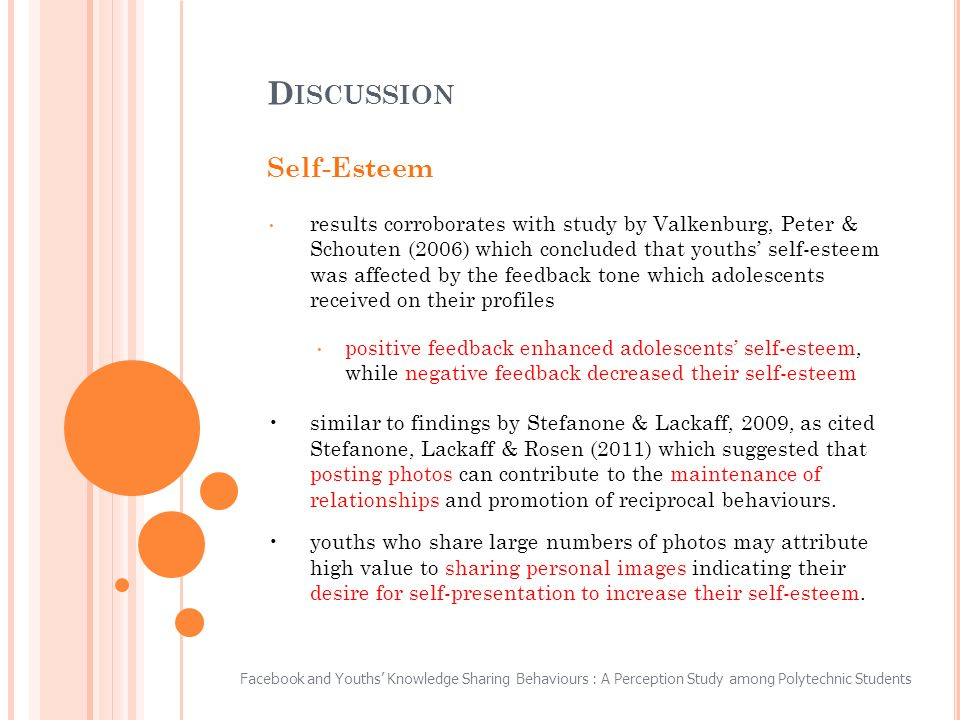 Self-Esteem results corroborates with study by Valkenburg, Peter & Schouten (2006) which concluded that youths self-esteem was affected by the feedback tone which adolescents received on their profiles positive feedback enhanced adolescents self-esteem, while negative feedback decreased their self-esteem similar to findings by Stefanone & Lackaff, 2009, as cited Stefanone, Lackaff & Rosen (2011) which suggested that posting photos can contribute to the maintenance of relationships and promotion of reciprocal behaviours.