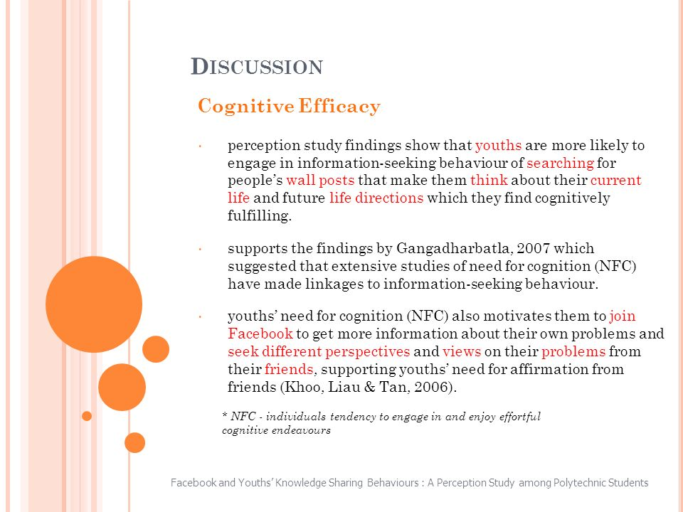 Cognitive Efficacy perception study findings show that youths are more likely to engage in information-seeking behaviour of searching for peoples wall posts that make them think about their current life and future life directions which they find cognitively fulfilling.