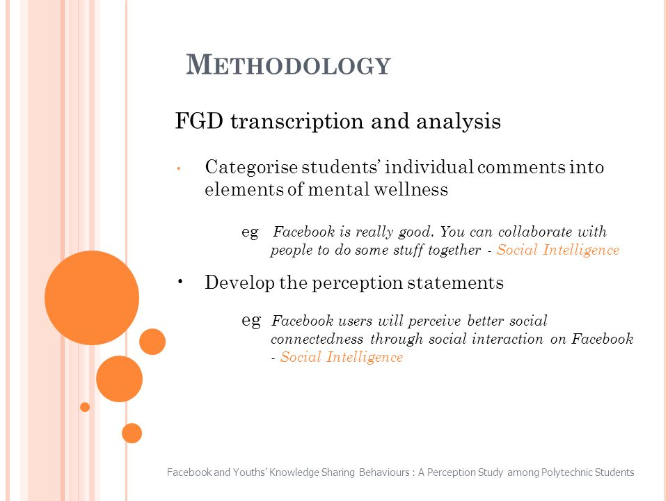 M ETHODOLOGY FGD transcription and analysis Categorise students individual comments into elements of mental wellness eg Facebook is really good.