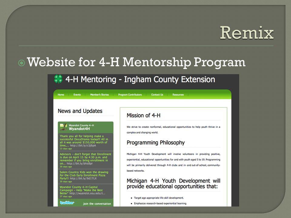 Website for 4-H Mentorship Program