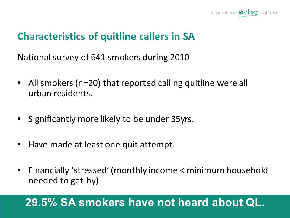 National survey of 641 smokers during 2010 All smokers (n=20) that reported calling quitline were all urban residents. Significantly more likely to be